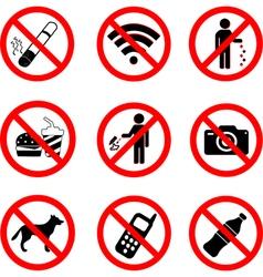 Set of prohibition sign symbols vector image