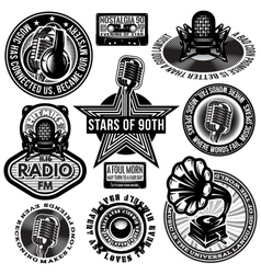 set of retro badges templates gramofon vector image