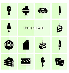 14 chocolate icons vector image