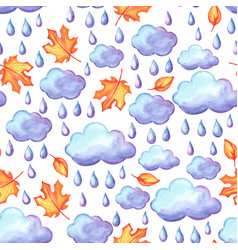 Aquarelle seamless pattern with autumn elements vector