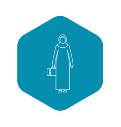 Arabic woman icon outline style vector
