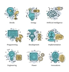 Artificial Intelligence Colored Icon Set vector
