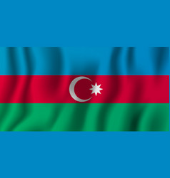 azerbaijan realistic waving flag national vector image