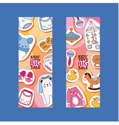 bastickers cartoon kids toys and clothing vector image
