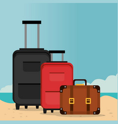 beach landscape with suitcases vector image