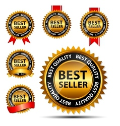 best seller gold sign label template vector image