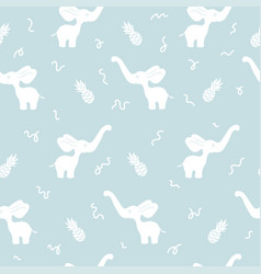 Blue seamless pattern with white elephant vector