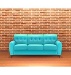 Brick wall interior with sofa realistic vector