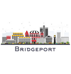 Bridgeport connecticut city skyline with color vector