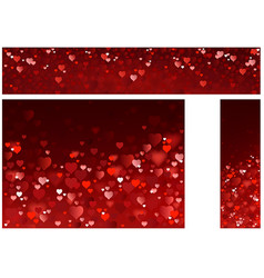 Bright red hearts banners vector