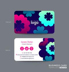 Business card design with vibrant pink blue aqua vector
