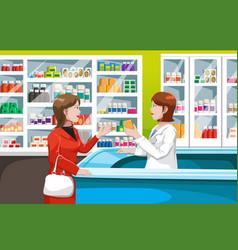 Buying medicine in pharmacy vector