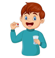 cartoon boy holding a pill and a glass water vector image