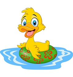 Cartoon funny duck floating with inflatable ring vector