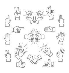 Cartoon outline signs of one hand and two hands vector image