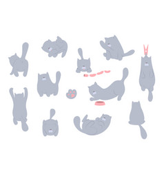 cat set cartoon cats flat design vector image