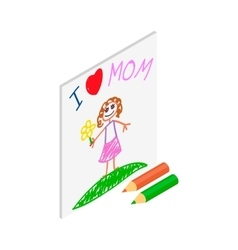 Child drawing of I love mom picture isometric icon vector