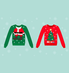 Christmas sweater on blue background with vector