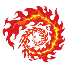 Circle red flames vector