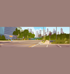 City street skyscraper buildings road view modern vector
