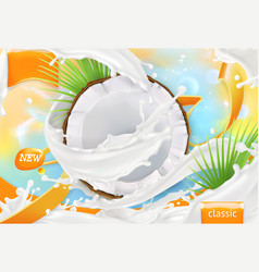 Coconut milk white cream splash 3d realistic vector