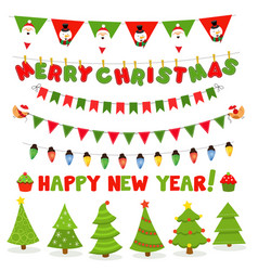 collection christmas bunting and trees vector image