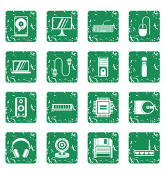 computer icons set grunge vector image