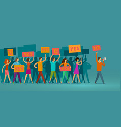 crowd of people with banners walking on public vector image