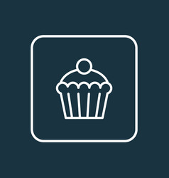 cupcake icon line symbol premium quality isolated vector image