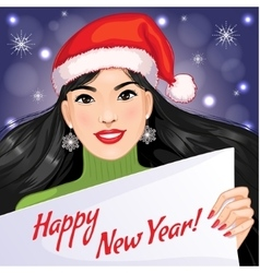 Cute asian girl with New Year greetings vector image