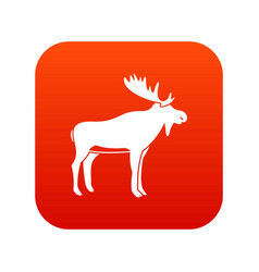 Deer icon digital red vector