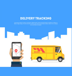 delivery tracking banner hand holding smartphone vector image