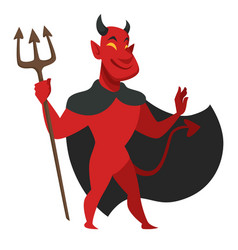 Devil with trident in black cloak evil character vector