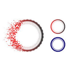 Dissolved pixel halftone rosette circular star vector