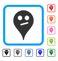 Doubt smiley map marker framed icon vector