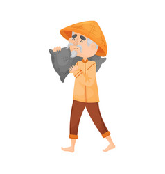 Elderly man carries a bag on his shoulder vector