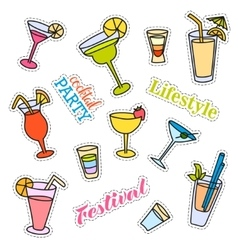 Fashion patch badges Cocktail set Stickers pins vector image