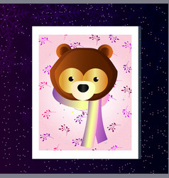 flat card with forest beast bear greeting card vector image
