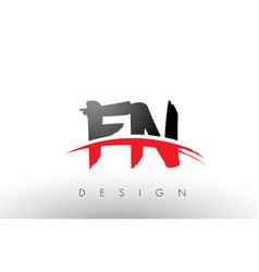 Fn f n brush logo letters with red and black vector