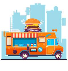 Food truck festival menu food brochure street vector