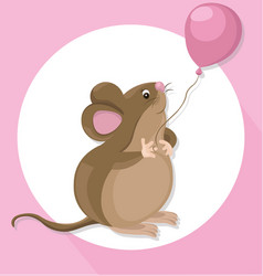Funny cute mouse cartoon character with a baloon vector