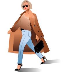 Girl sunglasses coat bag fashion beauty vector
