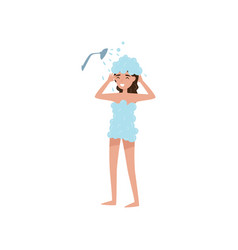 girl washing her hair with shampoo in shower vector image