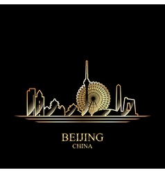 Gold silhouette of Beijing on black background vector