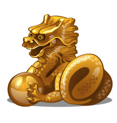 Golden figure of dragon chinese horoscope symbol vector