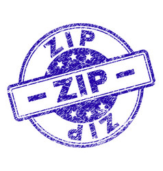Grunge textured zip stamp seal vector