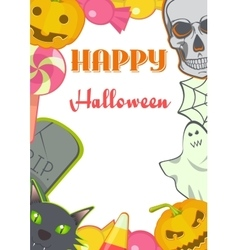 Halloween cartoon Signs and Symbols card frame vector image