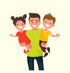 happy dad holding his son and daughter vector image