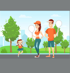 happy family people play badminton sport young vector image