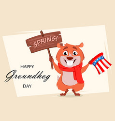 happy groundhog day funny marmot vector image